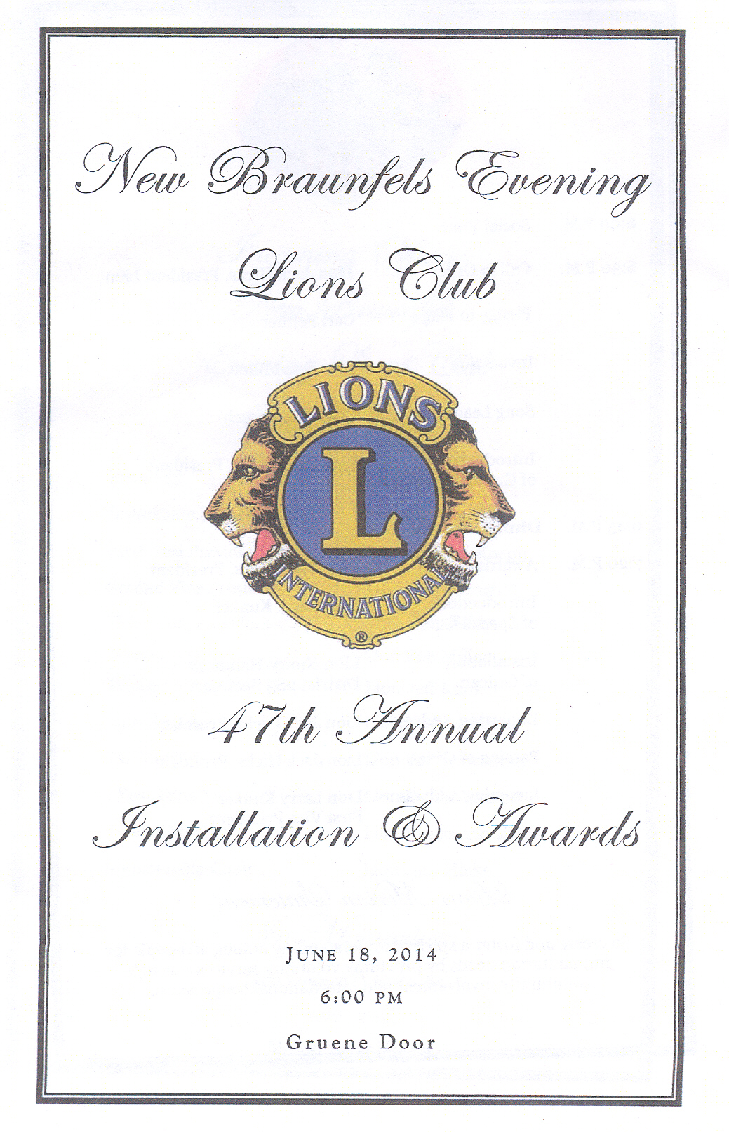 2014 Installation And Awards Banquet New Braunfels Evening Lions Club