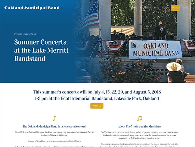 Oakland Municipal Band website image