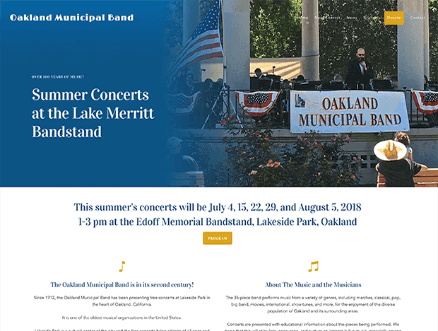 Oakland Municipal Band website image