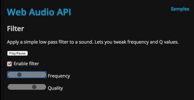 Web Audio API Filter