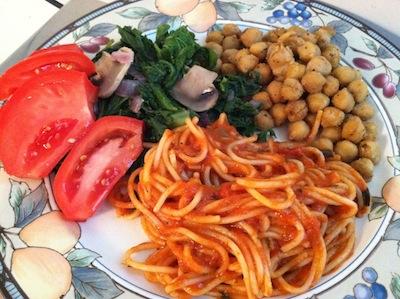 chickpeas-mustardgreens-mushrooms-tomatoes