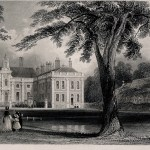 Monochrome etching of a manor house with large tree and people walking