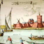 Painting showing Genep castle next to river