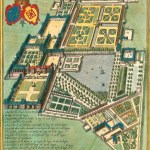 Colour, isometric drawing of geometric gardens with house.