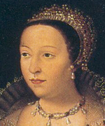 Oil painting of woman wearing headpiece and necklace