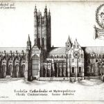 Engraving of Canterbury Cathedral showing a tall central tower in the middle of an ornate building.