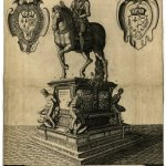 Engraving of a statue of man sitting on a horse on top of marble box.