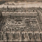 Engraving of ornate square filled with people surrounded by grand, high buildings