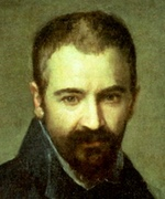 Oil painting of young man with goatee starting downwards sadly.