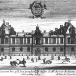Front view of grand house with people in front.