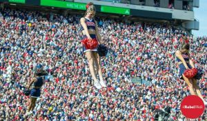 Ole Miss cheerleaders will be ready to fire up the crowd for the Auburn game. (Photo credit: Bentley Breland)