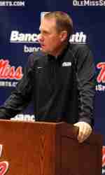 Coach Freeze addressed the media Monday in his weekly press conference. (Photo credit: Joshua McCoy, Ole Miss Athletics)