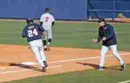Sikes Orvis rounds first base after hitting a HR. (Photo credit: Joshua McCoy, Ole Miss Athletics)