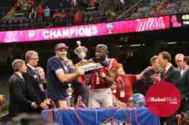 Chad Kelly, named MVP of the Sugar Bowl, celebrates the win with WR Laquon Treadwell. (Photo credit: Amanda Swain, The Rebel Walk)