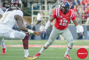 Tony Conner looks to make the tackle in the 2014 Egg Bowl. Conner has been named to the Jim Thorpe Award watch list. (Photo credit: Bentley Breland, The Rebel Walk)