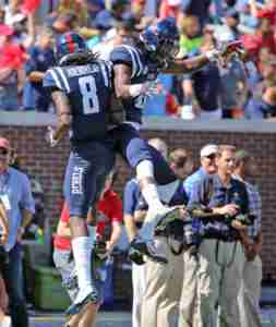 Quincy Adeboyejo had 5 catches for 120 yards and 3 TDs. (Photo credit: Joshua McCoy, Ole Miss Athletics)
