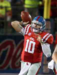 Chad Kelly finished 24-for-42 for 321 yards passing, 1 TD and 2 INTs. (Photo credit: Joshua McCoy, Ole Miss Athletics)
