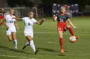 Ole Miss Soccer tied #19 UCF 2-2 on September 4th, 2015. (Photo by Joshua McCoy/Ole Miss Athletics.)