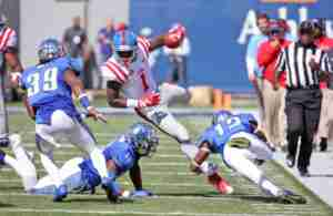 Laquon Treadwell had 14 catches for 144 yards in the loss to Memphis. (Photo credit: Joshua McCoy, Ole Miss Athletics)