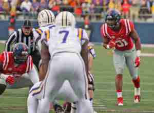 The Landshark defense was zoned in on Fournette, holding the LSU RB to 108 yards on 25 carries. (Photo credit: Joshua McCoy, Ole Miss Athletics)