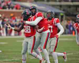 Landsharks Mike Hilton and CJ Johnson celebrate a defensive stop in the 38-17 win over LSU. (Photo credit: Joshua McCoy, Ole Miss Athletics)