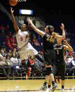 Erika Sisk had a game-high 18 points on 6-of-9 shooting. (Photo credit: Joshua McCoy, Ole Miss Athletics)