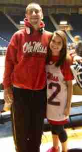 Marshall and Paige following a home game during her freshman year.