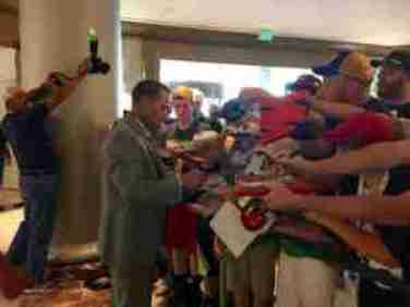 After the interviews were over, Coach Freeze signed autographs for Ole Miss fans. (Photo credit: Evelyn Vanpelt)