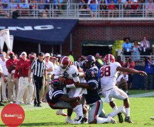 The Landsharks tackle QB Jalen Hurts in Saturday's game against the Tide. (Photo credit: Joey Brent, The Rebel Walk)