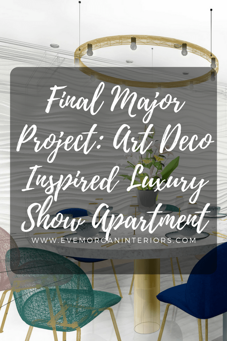 It's been a year since I started my final major project. So I thought it's about time I shared it with you!  As the apartments were going to be on the market for £400,000+, I really wanted to create a luxurious feel. What's more luxurious than Art Deco? The Roaring 20s were filled with brass, marble and soft velvets, which would be perfect for this setting.   Another strong element of my concept is curves. As the exterior of the building and my interior space featured soft, curves walls, I though the furniture shapes should reflect this. A lot of Bath's architecture contains curves and arches too, so I wanted to bring that into the interior space as well.