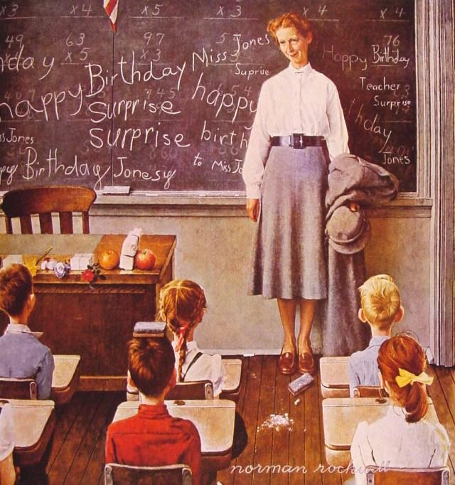 Teacher's Birthday - Norman Rockwell - 1956