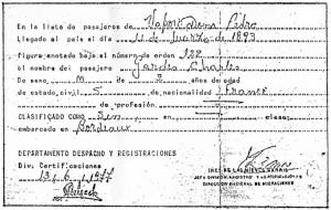 Certificat arrivee a buenos aires Carlos Gardel 1893