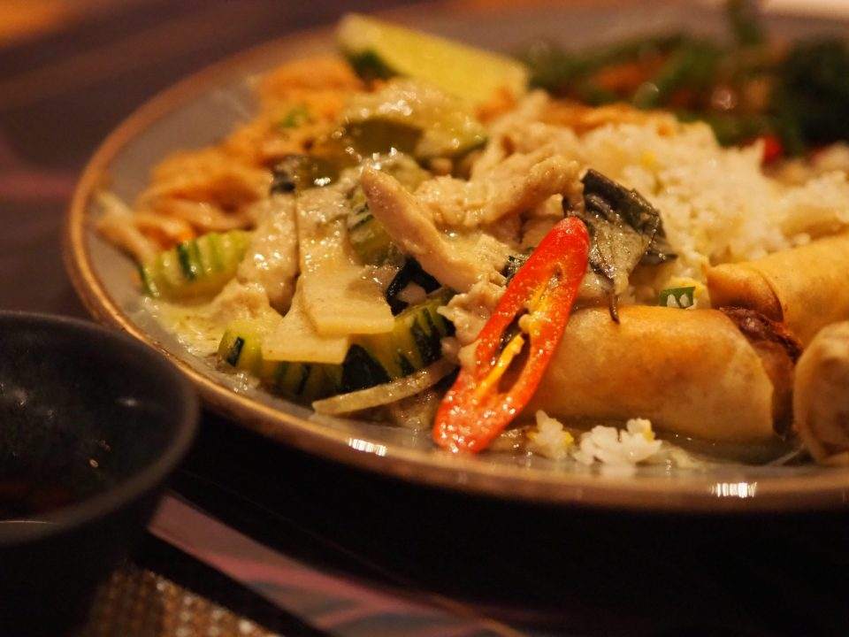 thai dish with red chilli peppers