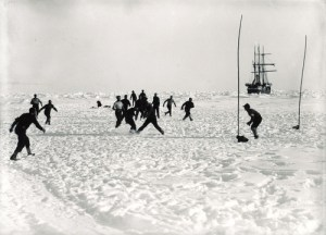 Scene from 1912 World Cup won by Norway who defeated Scott's legendary England team in the final
