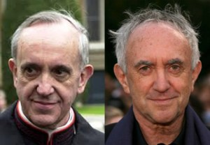 Is he the pope though? Or is he top actor Jonathan Pryce having a laugh?