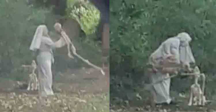 Woman Dressed As Nun Spotted Dancing With Skeleton Next To Graveyard