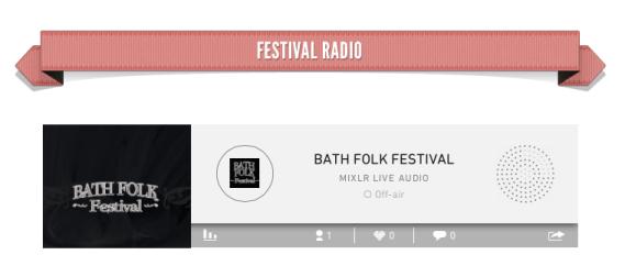 Embedded Mixlr player at Bath Folk Festival website