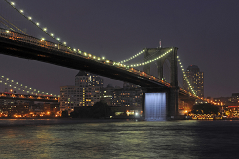 brooklyn bridge and water fall