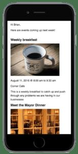 event calendar newsletter iphone preview