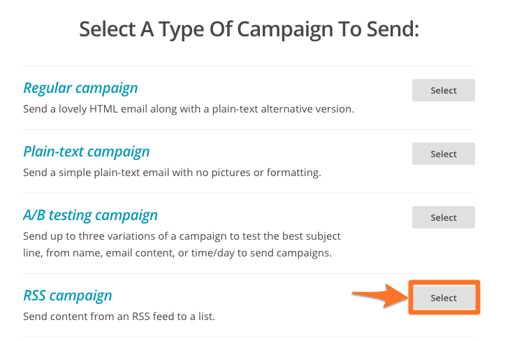 Creating an automatic mailing of your events with mailchimp mailchimp rss campaign event newsletter 1 pronofoot35fo Image collections