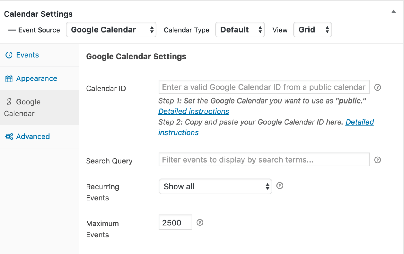google-calendar-settings-wordpress