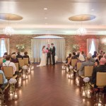 Bethlehem PA wedding indoor lehigh valley wedding ceremony candles, chandeliers & exposed brick wedding