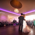 lehigh valley wedding venues | event center at blue colored uplighting, chandeliers, new hardwood floors, spacious dance floor wedding