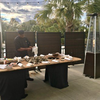 Oyster Action station at a Corporate dinner at the Wild Dunes Resort in Charleston, SC.