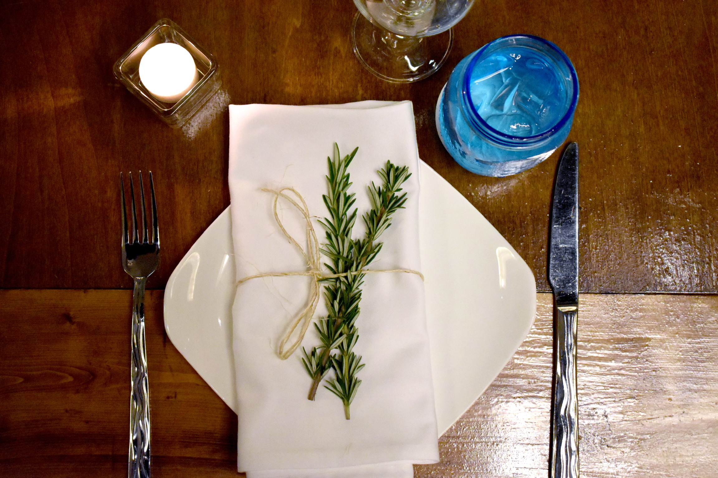 Tablesetting with fresh rosemary