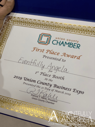 Eventfully Angela is a premier independent event management partner near Charlotte, N.C. We recently won the top prize at the Union County Business Expo!