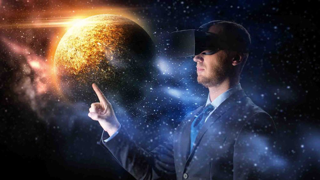 businessman in virtual reality headset over space