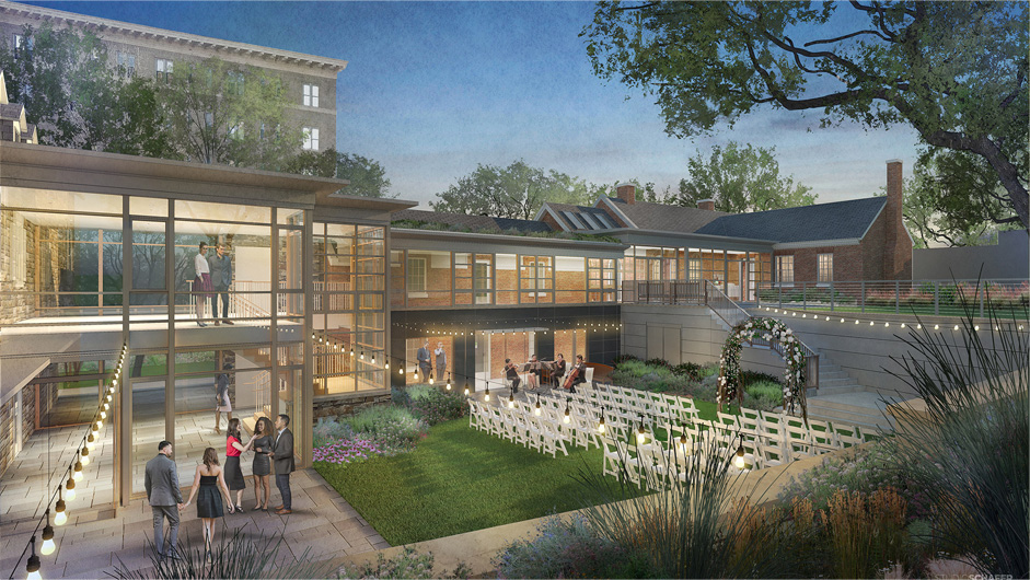 Rendering of a garden wedding in our event venue