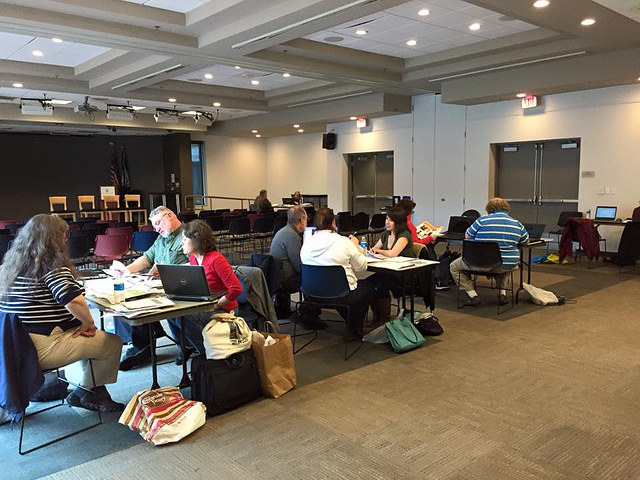 Judges reaching consensus at Arlington County Central Library.