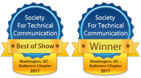 Graphic of the 2017 Technical Communication Competition award badges for BOS and Winner.